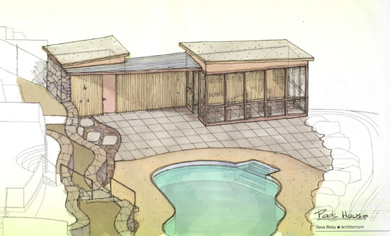 Swimming pool in Schuylerville, NY Sketch of poolhouse - 4